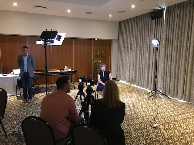 SAP filming a sound byte for the media – late 2017